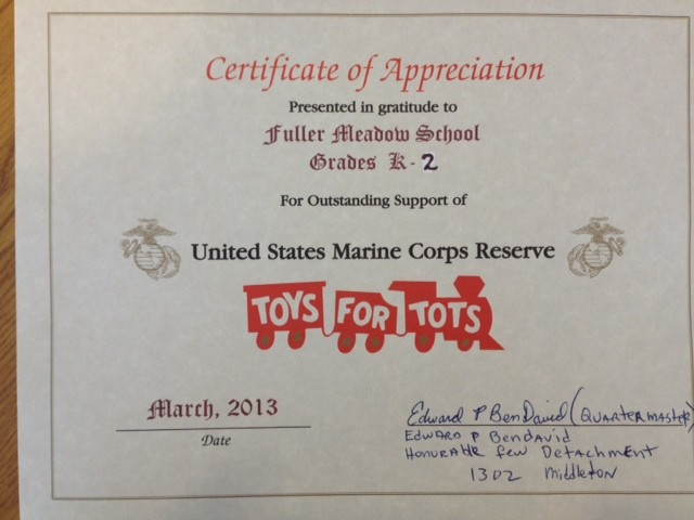Toys For Tots Application 2013 : Toys for tots fuller meadow principal
